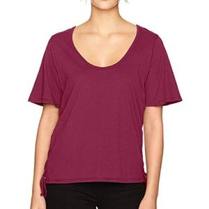 LAmade Kaia Lace up Top Red Plum Large NWT